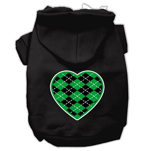 Argyle Heart Green Screen Print Pet Hoodies Black Size XS (8)